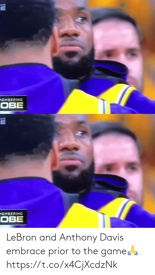 Game: LeBron and Anthony Davis embrace prior to the game🙏 https://t.co/x4CjXcdzNk