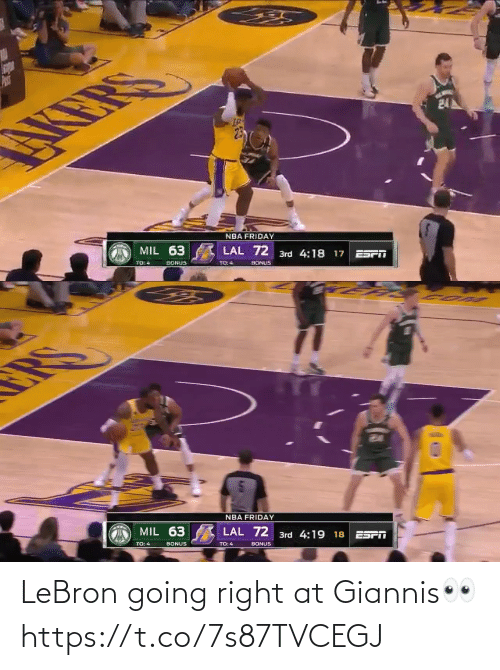 Lebron: LeBron going right at Giannis👀 https://t.co/7s87TVCEGJ