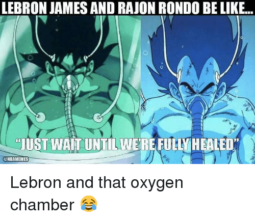 Basketball, Be Like, and LeBron James: LEBRON JAMES AND RAJON RONDO BE LIKE..  JUST WAIT UNTILWERE FUHY HEALED  @NBAMEMES Lebron and that oxygen chamber 😂