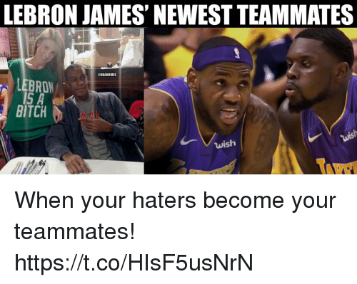 Bitch, LeBron James, and Lebron: LEBRON JAMES' NEWEST TEAMMATES  @NBAMEMES  LEBRON  BITCH  wish When your haters become your teammates! https://t.co/HIsF5usNrN
