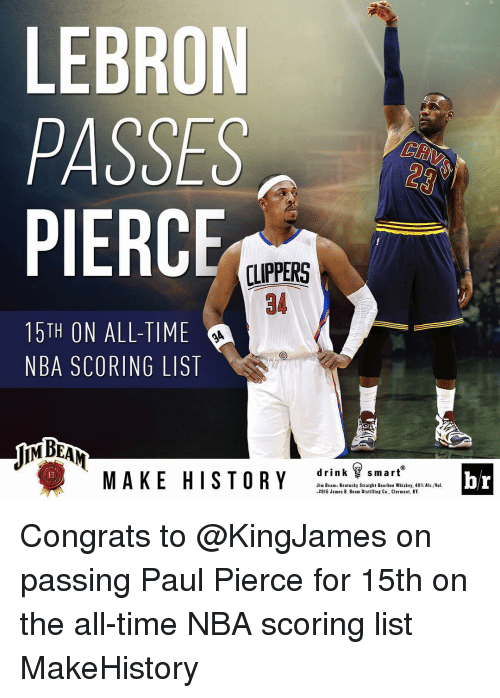 Nba Scores: LEBRON  PASSES  PIERC  LIPPERS  15TH ON ALL-TIME  NBA SCORING LIST  drink smart  MAKE HISTORY  Jim Beams Kentucky Straight B  ben Whiskey, 40% A  2016 James B. Beam Distilling Co., Clermont, KY.  br Congrats to @KingJames on passing Paul Pierce for 15th on the all-time NBA scoring list MakeHistory