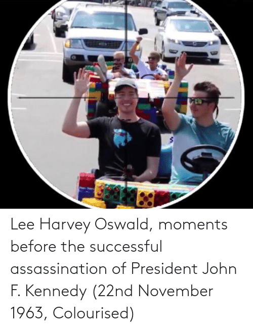 oswald: Lee Harvey Oswald, moments before the successful assassination of President John F. Kennedy (22nd November 1963, Colourised)