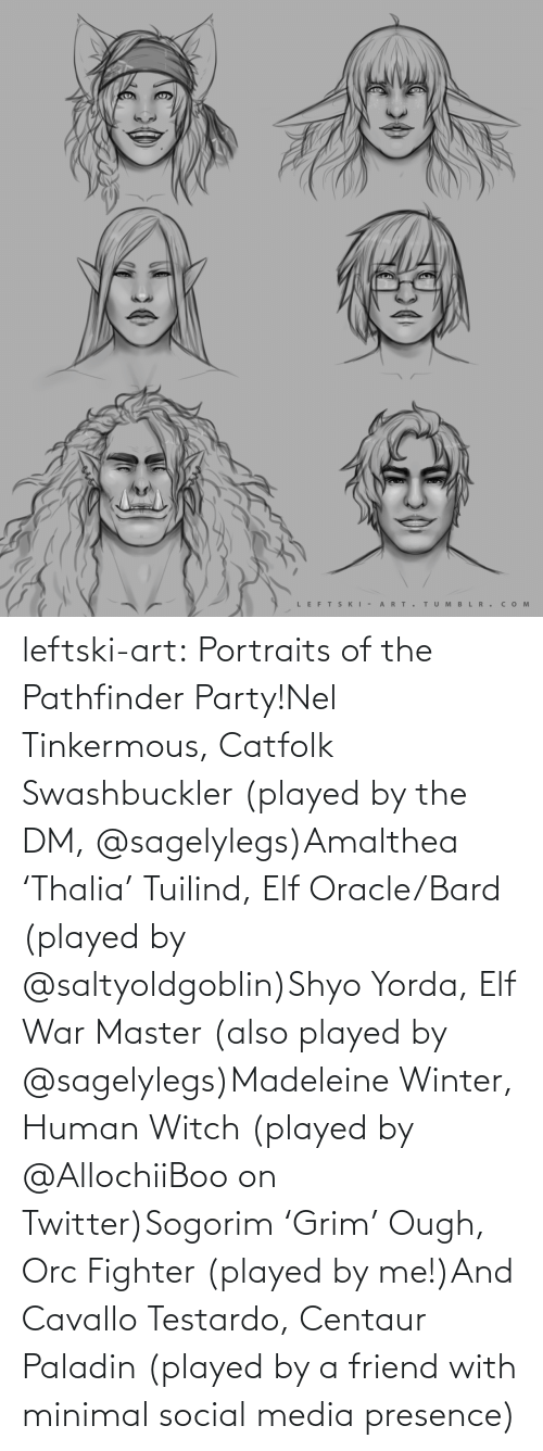 human: LEFTS KI - A RT.  TUM B L R . сом  >ф leftski-art:  Portraits of the Pathfinder Party!Nel Tinkermous, Catfolk Swashbuckler (played by the DM, @sagelylegs)Amalthea 'Thalia' Tuilind, Elf Oracle/Bard (played by @saltyoldgoblin)Shyo Yorda, Elf War Master (also played by @sagelylegs)Madeleine Winter, Human Witch (played by @AllochiiBoo on Twitter)Sogorim 'Grim' Ough, Orc Fighter (played by me!)And Cavallo Testardo, Centaur Paladin (played by a friend with minimal social media presence)