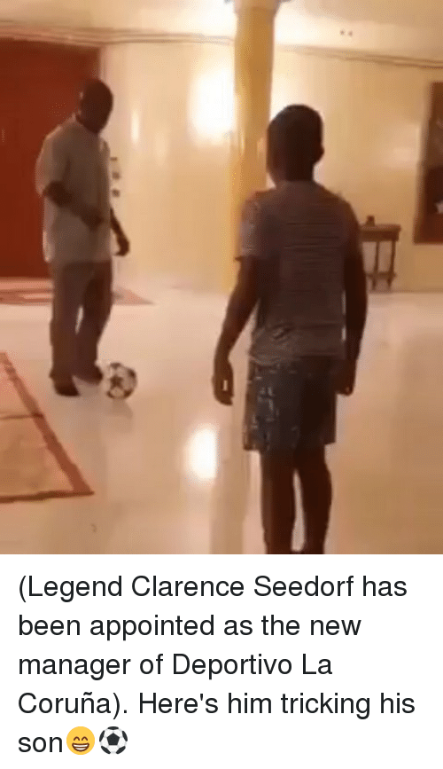 Tricking: (Legend Clarence Seedorf has been appointed as the new manager of Deportivo La Coruña). Here's him tricking his son😁⚽️