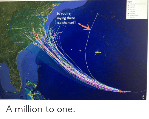elo: Legend  e Category 4 Hurricane Florence  Pennsylvania  ew-york  ind ana  Feature 1  Feature 2  Feature 3  Feabure 4  New Jersey  So you're  saying there  is a chance?!  ● Greenwile  ashingtone  Δ National Forest  West Virgiaja  New Yor  Kentucky  h Carolina  Georgia  Becmuda  Elo  The Bahamas A million to one.