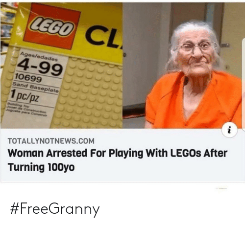 Ages: LEGO  CL  Ages/edades  4-99  10699  Sand Baseplate  1pc/pz  i  uilding Toy  Jouet de Conetruction  Juguete pare Construi  Woman Arrested For Playing With LEGOS After  Turning 100yo  TOTALLYNOTNEWS.COM #FreeGranny