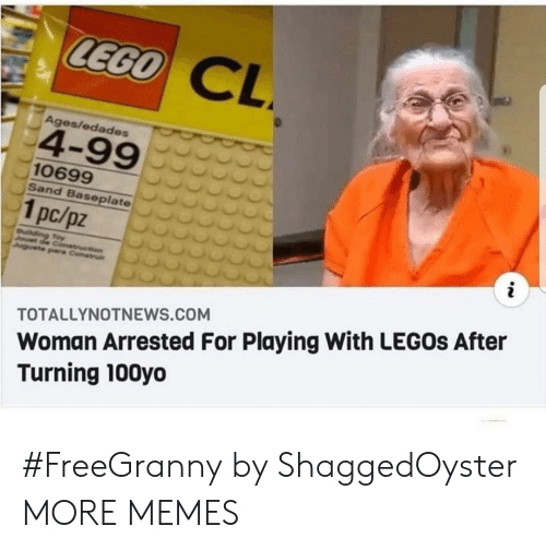 Ages: LEGO  CL  Ages/edades  4-99  10699  Sand Baseplate  1pc/pz  i  uilding Toy  Jouet de Conetruction  Juguete pare Construi  Woman Arrested For Playing With LEGOS After  Turning 100yo  TOTALLYNOTNEWS.COM #FreeGranny by ShaggedOyster MORE MEMES