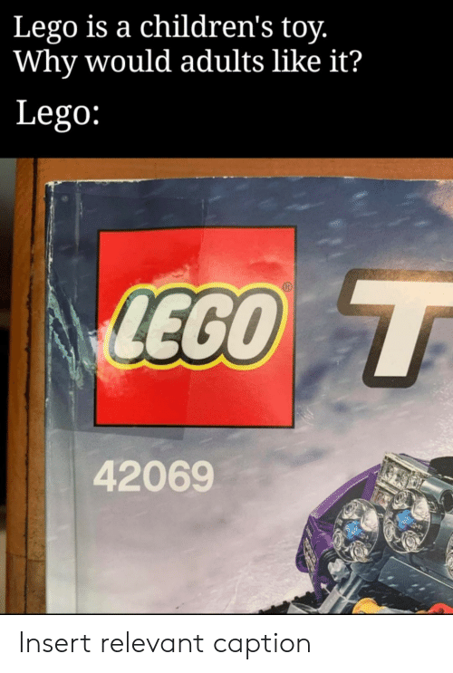 Lego, Why, and Toy: Lego is a children's toy.  Why would adults like it?  Lego:  LEGO T  42069 Insert relevant caption