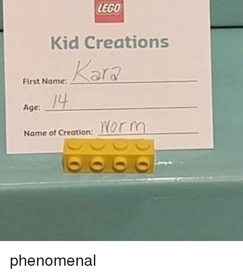 Lego, Memes, and Phenomenal: LEGO  Kid Creations  First Name:d  First Name:Rar  /4  Age:  Norm  Name of Creation: phenomenal