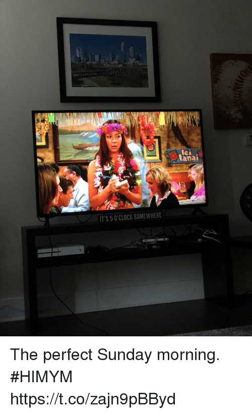 Memes, Sunday, and 🤖: lei  lanai  10  9  IT'S 5 O'CLOCK SOMEWHERE The perfect Sunday morning. #HIMYM https://t.co/zajn9pBByd