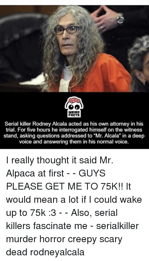 """fascination: LEIRD  FARTS  Serial killer Rodney Alcala acted as his own attorney in his  trial. For five hours he interrogated himself on the witness  stand, asking questions addressed to """"Mr. Alcala in a deep  voice and answering them in his normal voice. I really thought it said Mr. Alpaca at first - - GUYS PLEASE GET ME TO 75K!! It would mean a lot if I could wake up to 75k :3 - - Also, serial killers fascinate me - serialkiller murder horror creepy scary dead rodneyalcala"""