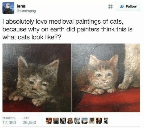 Lena: lena  @electrapng  Follow  I absolutely love medieval paintings of cats,  because why on earth did painters think this is  what cats look like??  RETWEETS  IKES  17,060 28,550