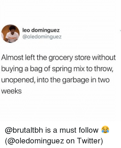 Memes, Twitter, and Spring: leo dominguez  LATColedominguez  OLEAT  Almost left the grocery store without  buying a bag of spring mix to throw,  unopened, into the garbage in two  weeks @brutaltbh is a must follow 😂 (@oledominguez on Twitter)
