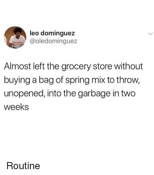 Ironic, Spring, and Leo: leo dominguez  Tledominguez  Almost left the grocery store without  buying a bag of spring mix to throw,  unopened, into the garbage in two  weeks Routine