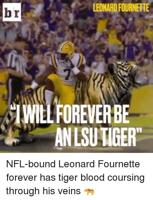 "Bloods, Sports, and Tiger: LEONARD FOURNERTE  br  ySIWILLFOREVERBE  ANLSUTIGER"" NFL-bound Leonard Fournette forever has tiger blood coursing through his veins 🐅"