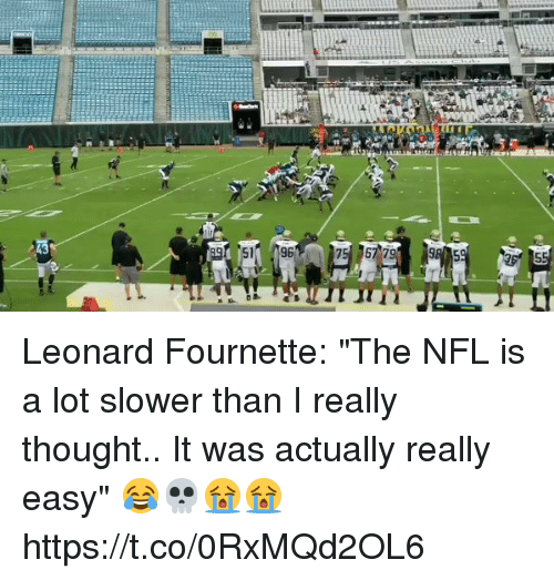 "Nfl, Sports, and Thought: Leonard Fournette: ""The NFL is a lot slower than I really thought.. It was actually really easy"" 😂💀😭😭 https://t.co/0RxMQd2OL6"