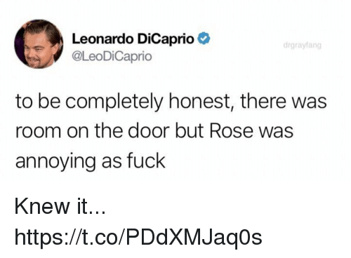 Funny, Leonardo DiCaprio, and Fuck: Leonardo DiCaprio  @leoDiCaprio  drgrayfang  to be completely honest, there was  room on the door but Rose was  annoying as fuck Knew it... https://t.co/PDdXMJaq0s