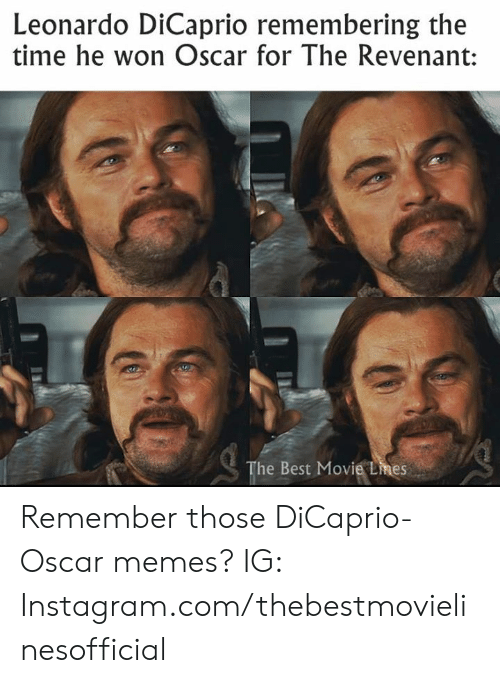 Leonardo DiCaprio: Leonardo DiCaprio remembering the  time he won Oscar for The Revenant:  The Best Movie Lmes Remember those DiCaprio-Oscar memes?  IG: Instagram.com/thebestmovielinesofficial