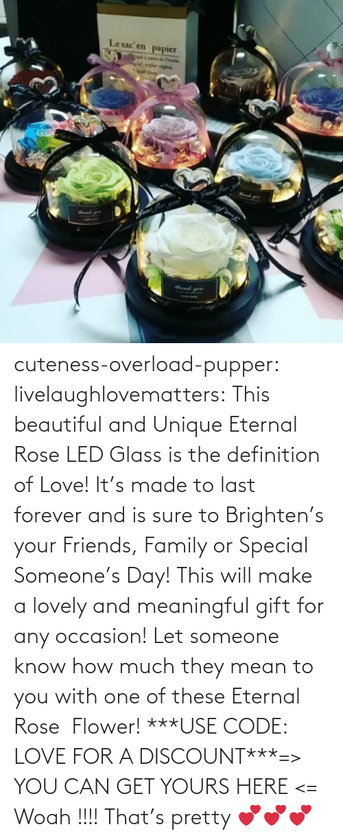 And Is: Lesac en  papier  halke  Fvat for cuteness-overload-pupper:  livelaughlovematters:  This beautiful and Unique Eternal Rose LED Glass is the definition of Love! It's made to last forever and is sure to Brighten's your Friends, Family or Special Someone's Day! This will make a lovely and meaningful gift for any occasion! Let someone know how much they mean to you with one of these Eternal Rose  Flower! ***USE CODE: LOVE FOR A DISCOUNT***=> YOU CAN GET YOURS HERE <=  Woah !!!! That's pretty 💕💕💕