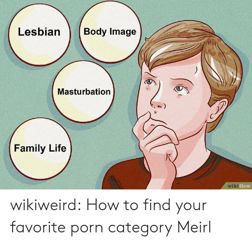 wiki how: Lesbian  Body Image  Masturbation  Family Life  wiki How wikiweird:  How to find your favorite porn category  Meirl