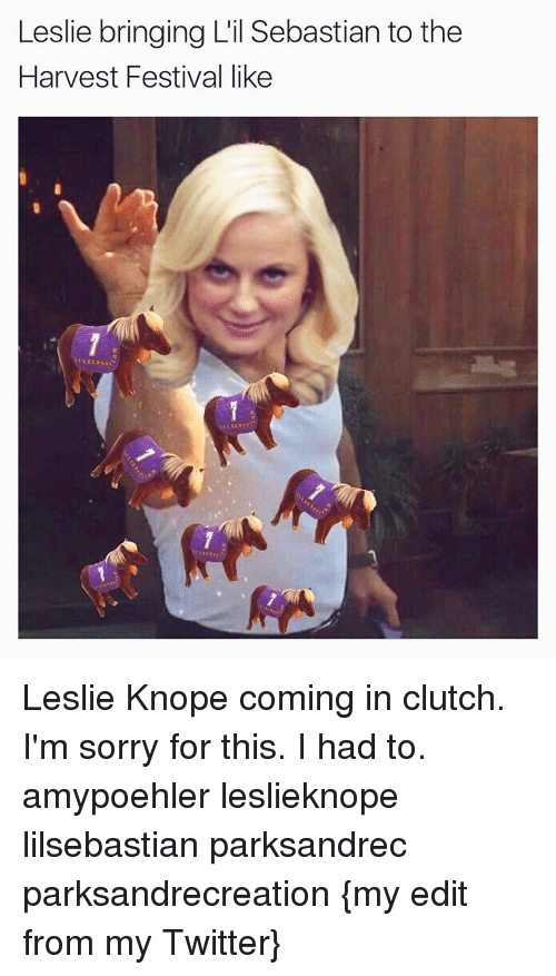 Leslie Knope: Leslie bringing L'il Sebastian to the  Harvest Festival like Leslie Knope coming in clutch. I'm sorry for this. I had to. amypoehler leslieknope lilsebastian parksandrec parksandrecreation {my edit from my Twitter}