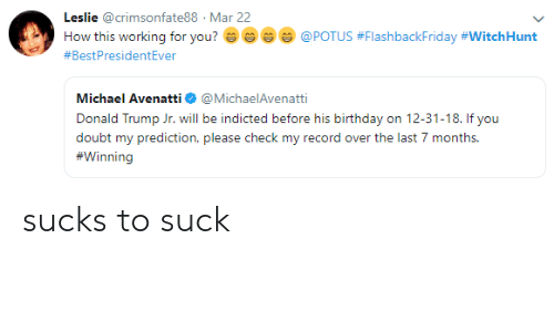 Birthday, Donald Trump, and Michael: Leslie @crimsonfate88 Mar 22  How this working for you? e ~ e @POTUS #FlashbackFriday #Witch Hunt  #BestPresidentEver  Michael Avenatti@MichaelAvenatti  Donald Trump Jr. will be indicted before his birthday on 12-31-18. If you  doubt my prediction, please check my record over the last 7 months  Wii] sucks to suck