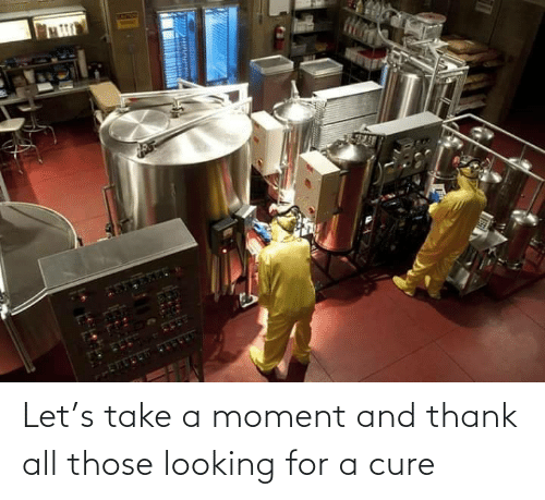 cure: Let's take a moment and thank all those looking for a cure