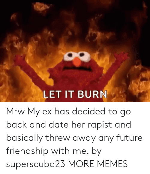 To Go Back: LET IT BURN Mrw My ex has decided to go back and date her rapist and basically threw away any future friendship with me. by superscuba23 MORE MEMES