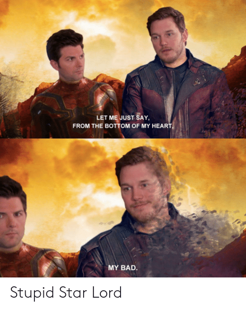 Bad, Heart, and Star: LET ME JUST SAY  FROM THE BOTTOM OF MY HEART  MY BAD. Stupid Star Lord