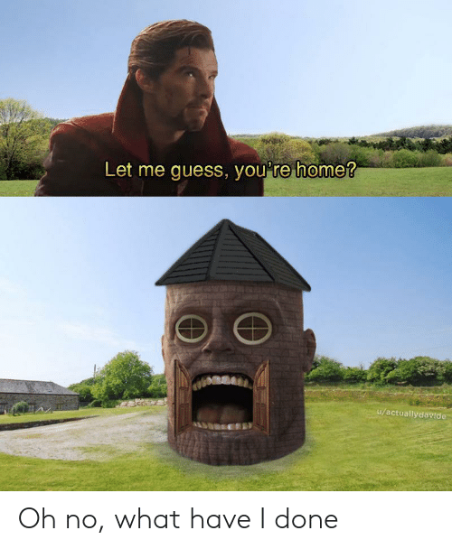 What Have I Done: Let me quess, vou're home?  u/actuallydavide Oh no, what have I done
