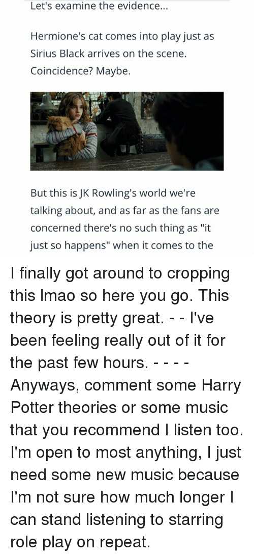 "Harry Potter, Lmao, and Memes: Let's examine the evidence...  Hermione's cat comes into play just as  Sirius Black arrives on the scene.  Coincidence? Maybe.  But this is JK Rowling's world we're  talking about, and as far as the fans are  concerned there's no such thing as ""it  just so happens"" when it comes to the I finally got around to cropping this lmao so here you go. This theory is pretty great. - - I've been feeling really out of it for the past few hours. - - - - Anyways, comment some Harry Potter theories or some music that you recommend I listen too. I'm open to most anything, I just need some new music because I'm not sure how much longer I can stand listening to starring role play on repeat."
