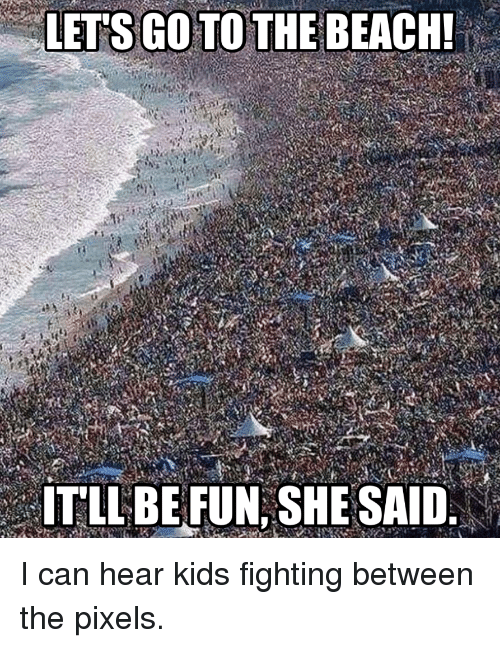 Funny, Beach, and Kids: LETS GO TO THE BEACH!  ITLLBE FUN, SHE SAID. I can hear kids fighting between the pixels.