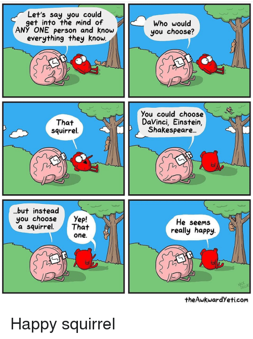 Theawkwardyeti: Let's say you could  get into the mind of  ANY ONE person and know  everything they know.  Who would  you choose?  That  squirrel  You could choose  DaVinci, Einstein,  Shakespeare..  fii  in  ..but instead  you choose Yefp!  a squirrel.That  He seems  really happy.  one.  seLü  theAwkwardYeti.com Happy squirrel