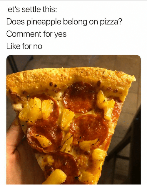 Memes, Pizza, and Pineapple: let's settle this  Does pineapple belong on pizza?  Comment for yes  Like for no