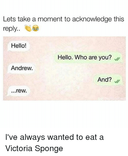 rew: Lets take a moment to acknowledge this  reply  Hello!  Hello. Who are you?  Andrew.  And?  ...rew. I've always wanted to eat a Victoria Sponge