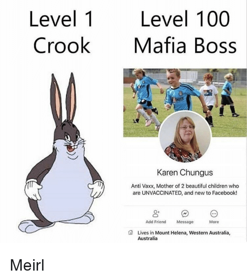 Anaconda, Beautiful, and Children: Level 1  Crook  Level 100  Mafia Boss  Karen Chungus  Anti Vaxx, Mother of 2 beautiful children who  are UNVACCINATED, and new to Facebook!  Add Friend  Message  More  Lives in Mount Helena, Western Australia,  Australia Meirl