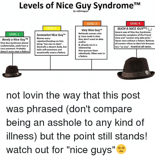"Dude, Fedora, and Memes: Levels of Nice Guy Syndrome TM  by wtfniceguys  LEVEL 4  LEVEL 3  SUCH A NICE GUYTM!  Very Nice Guy""M  Severe case of Nice Guy Syndrome.  Befriends women who  LEVEL 1  Somewhat Nice Guy  Constantly complains of the Friend  A: have made it clear  zone and ""women only date jerks.  Blames every  Barely a Nice Guy TM  they don't want to date  Never seen without a fedora. Believes  rejection/breakup on him  and/or  Nice Guy Syndrome almost  women refuse to date him because  being ""too nice to date""  B: already are in a  undetectable, aside from a  he's ""so nice"". Avoid at all costs  Generally a decent dude, but  relationship  rare comment. Probably  lacks self-awareness and  then pursues them  doesn't even wear a fedora  wears a fedora.  occasionally  relentlessly. Often seen in  a fedora. not lovin the way that this post was phrased (don't compare being an asshole to any kind of illness) but the point still stands! watch out for ""nice guys""😒"