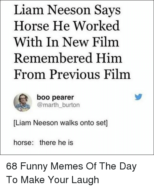 Boo, Funny, and Liam Neeson: Liam Neeson Says  Horse He Worked  With In New Film  Remembered Him  From Previous Film  boo pearer  @marth_burton  [Liam Neeson walks onto set]  horse: there he is 68 Funny Memes Of The Day To Make Your Laugh