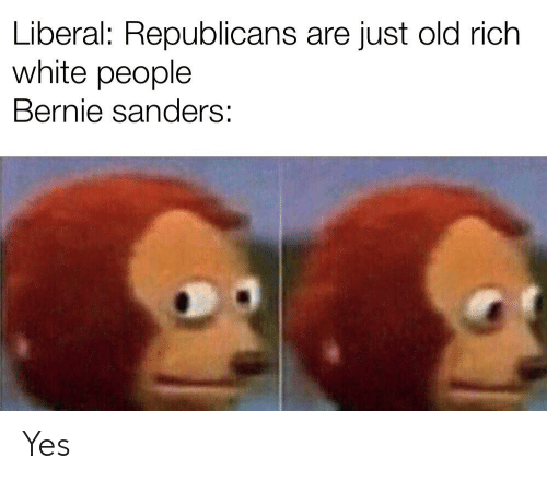 Bernie Sanders, White People, and White: Liberal: Republicans are just old rich  white people  Bernie sanders: Yes