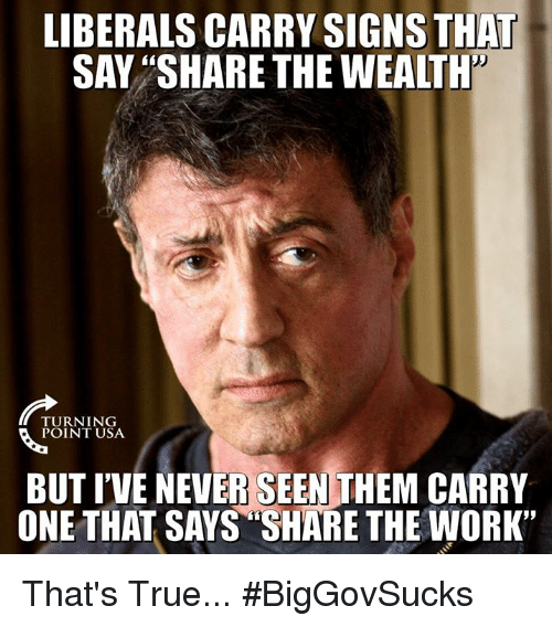 "Memes, True, and Work: LIBERALS CARRY SIGNS THA  SAV ""SHARE THE WEALTH'  TURNING  BUT I'VE NEVER SEEN THEM CARRY  ONE THAT SAYS ""SHARE THE WORK"" That's True... #BigGovSucks"