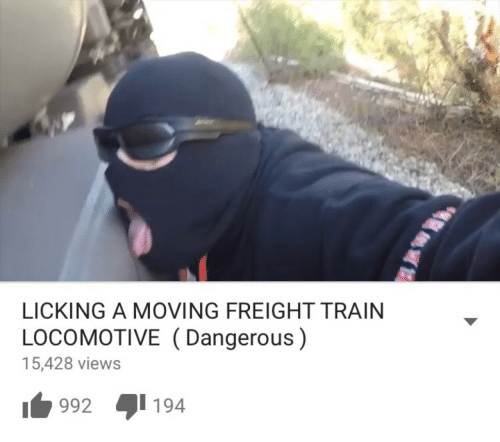 Train, Locomotive, and Moving: LICKING A MOVING FREIGHT TRAIN  LOCOMOTIVE (Dangerous)  15,428 views  1992 194