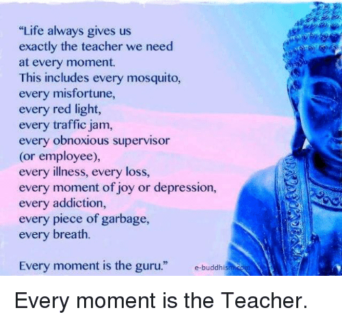 """Misfortunately: """"Life always gives us  exactly the teacher we need  at every moment.  This includes every mosquito,  every misfortune,  every red light,  every traffic jam,  every obnoxious supervisor  (or employee),  every illness, every loss,  every moment of joy or depression,  every addiction,  every piece of garbage,  every breath.  Every moment is the guru  e-buddhis Every moment is the Teacher."""