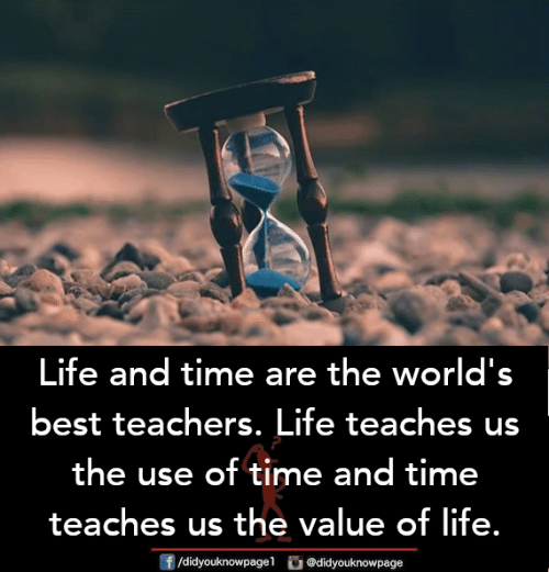 Life, Memes, and Best: Life and time are the world's  best teachers. Life teaches us  the use of time and time  teaches us the value of life.  団/didyouknowpagel。@didyouknowpage