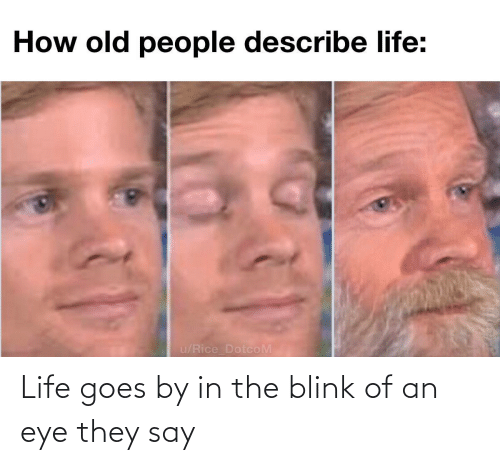 Goes: Life goes by in the blink of an eye they say