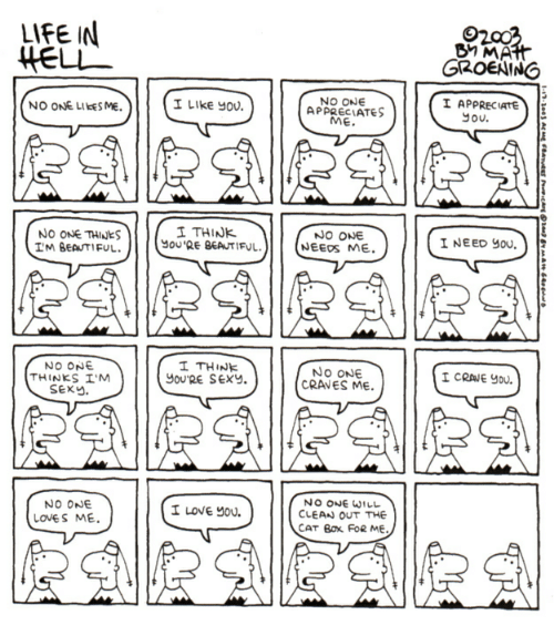 Youre Sexy: LIFE IN  HELL  BY MAHH  GROENING  I APPRECIATE  you.  NO ONE  APPRECIATES  ME.  I LIKE You  NO ONE LIKES ME.  1 ΤHINK  you'RE BEAUTIFUL  NO ONE  NEEDS ME  INEED yOU  NO ONE THINES  IM BEAUTIFUL.  I THINK  You'RE SEXY.  NO ONE  THINKS I'M  SEXY.  No ONE  CRAVES ME  I CRANE YOU  NO ONE WILL  CLEAN OUT THE  CAT BOx FoR ME.  NO ONE  I LOVE YOU  LOVES ME  AR  1-17-3003 Ac me FeaTeEs Car1a A 4o