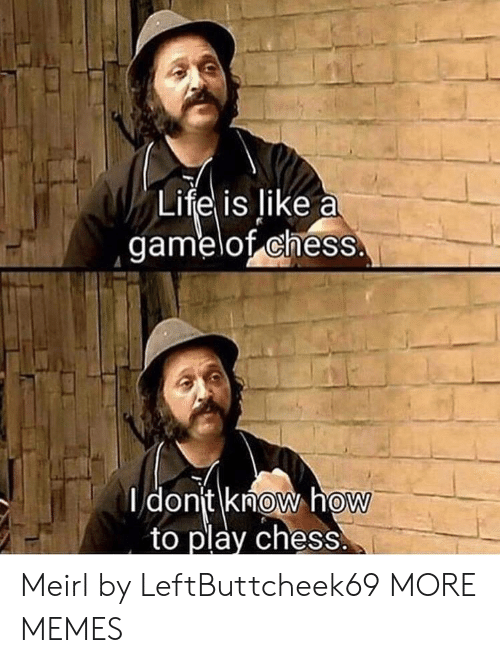 Liked A: Life is like a  gamelof chess.  I dont know how  to play chess  0  0 Meirl by LeftButtcheek69 MORE MEMES