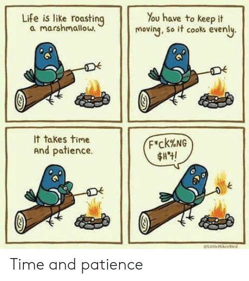 Roasting: Life is like roasting  a marshmallow.  You have to keep it  moving, so it cooks evenly.  It takes time  F'ck%NG  And patience.  LitleikerBird Time and patience