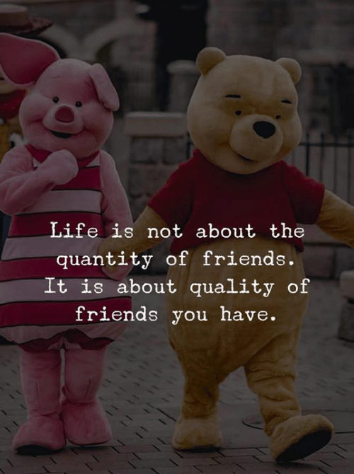 Friends, Life, and You: Life is not about the  quantity of friends.  It is about quality of  friends you have.