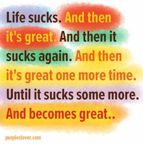 Its Sucks: Life sucks.  And then  it's great. And then it  sucks again.  And then  it's great one more time.  Until it sucks some more.  And becomes great.  purpledover.com