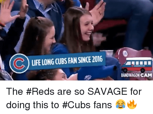 Cubs Fans: LIFELONG CUBS FAN SINCE 2016  BANDWAGON CAM The #Reds are so SAVAGE for doing this to #Cubs fans 😂🔥